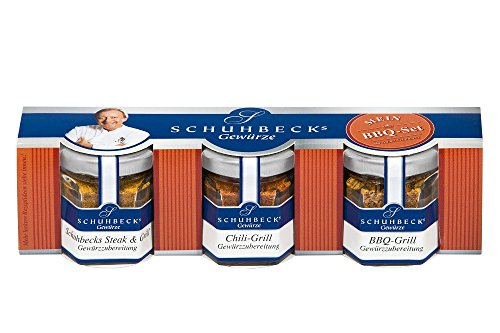 Schuhbecks Gewürze BBQ-Gewürz 3er Set Chili-, Steak- & BBQ-Gewürz, mini Grillgewürze für Fleisch, Fisch, Marinaden & Gemüse, ideal als Geschenk, Menge: 1 x 70 g