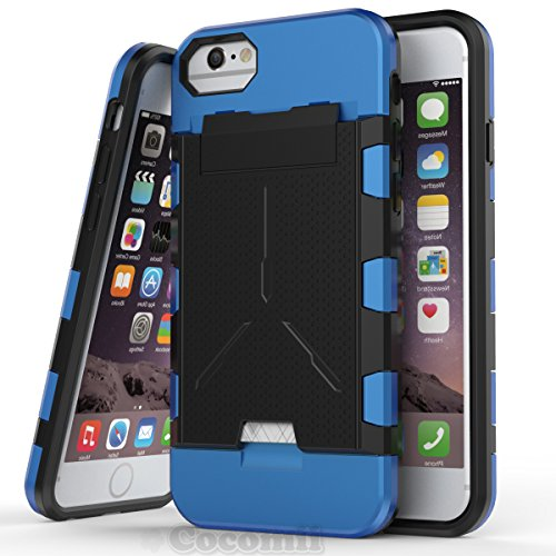 iPhone 8 / 7 / 6S / 6 Hülle, Cocomii Viking Armor NEW [Heavy Duty] Premium Built-in Multi Card Holder Shockproof Hard Bumper Shell [Military Defender] Full Body Dual Layer Rugged Cover Case Schutzhüll Blue