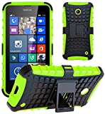 G-Shield Nokia Lumia 630/635 Hülle Silikon mit Ständer Stoßfest Schutzhülle Dünn Tasche Hybrid Armor Cover Case Etui Handyhülle mit Displayschutzfolie und Stylus - Grün
