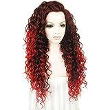 IMSTYLE peluca rizada rojas largo front lace resistente al calor pelo sintetico