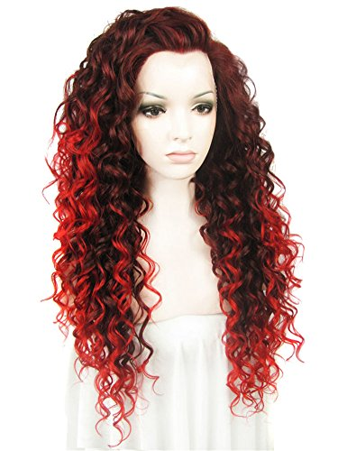 Front Hitzebeständigen Perücken Lace (ImstyleSexy Extra Long Afro Kinky Curly Ombre Wig Two Tone Red Color Synthetic Lace Front Wig for Cosplay Heat Resistant by IMSTYLE)
