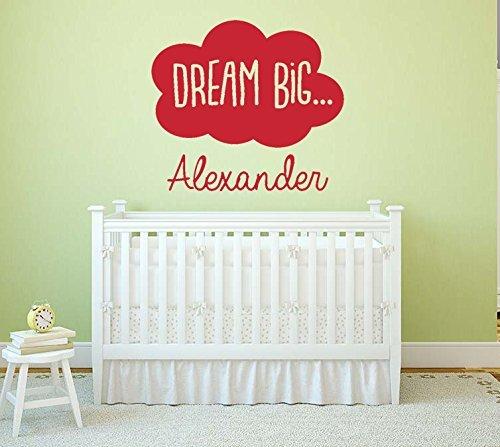 """Personalisierte""""Dream Big"""" Quote, Vinyl-Wand-Kunstaufkleber, Wandmalereiber, Wandmalerei, Dekal. Startseite. Wand, Fenster, Spiegel-Dekor. Kinderzimmer, Spielzimmer, Kindergarten."""