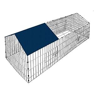 Kaninchenstall Hasenkäfig Hasengehege Hasenstall Käfig Freilauf Gehege Metall mit blauem Sonnenschutz