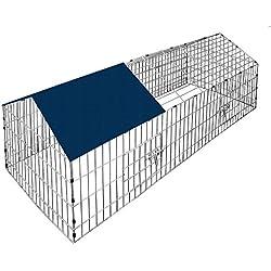 Deuba Enclos Lapin Métal Extérieur Parc Clapier à lapin 180x75cm Toit Amovible + Bache Protection UV inclus