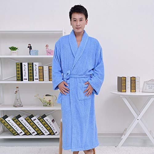 Nachtschlafanzug Baumwollbademäntel, Herren und Damen, warmes Handtuch, Bademantel, Bademantel (Farbe: Blau, Größe: XL) Home Nachtwäsche (Farbe : Blau, Größe : Medium)