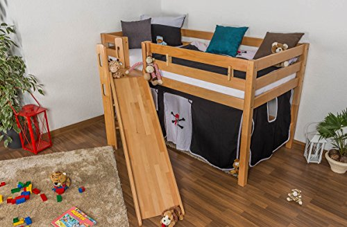 Children's bed / Loft Bunk bed Samuel solid, natural beech wood, includes slide, includes roll-up grille - 90 x 200 cm