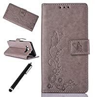 Wallet Case for Samsung Galaxy J5 2016-Beddouuk Elegant Pressed Butterfly Flower Design Folio Pu Leather Flip Protective Cover Case with Stand and Card Holder for Samsung Galaxy J5 2016,Gray