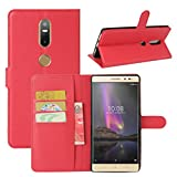 HualuBro Lenovo Phab 2 Plus Hülle, Leder Brieftasche Etui Tasche Schutzhülle HandyHülle [Standfunktion] Leather Wallet Flip Case Cover für Lenovo Phab 2 Plus (Rot)