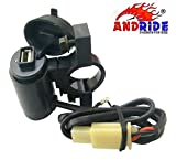 #4: Andride Motorcycle Handlebar Mount USB Charger Socket 2.1A 9V with USB Charging System for Mobile, Tablet, Portable Music Player and GPS