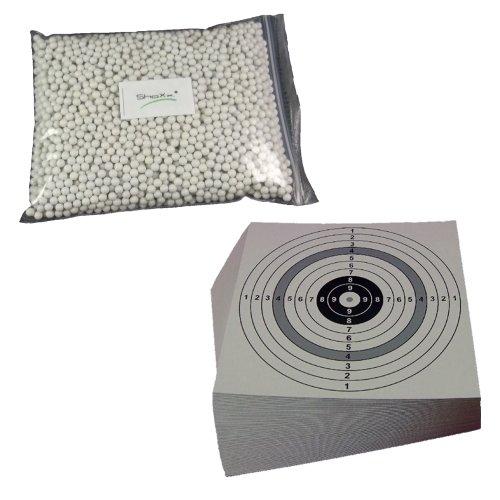 ShoXx.® Set: 8000 ShoXx.® Softair BB Kal. 6 mm 0,25 g + 25 ShoXx.® shoot-club Zielscheiben 14x14 cm mit zusätzlichen grauen Ring und 250 g/m²