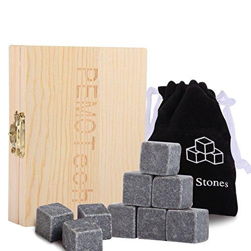 Whisky Stones Geschenk Set, pemotech 9Set of Best Performing Granit Drink Rocks, verpackt in eine exklusive Holz Geschenk-Set und anschmiegsame Samtbeutel, nie Wasser Ihr Getränk wieder runter.