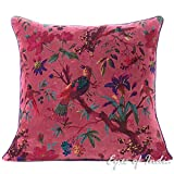 Eyes of India - 16' Burgundy Red Velvet Bird Throw Pillow Sofa Cushion Cover Couch Colorful Boho Bohemian Indian COVER ONLY