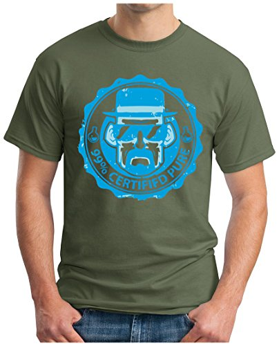 OM3 - HEISENBERG-99% - T-Shirt Certified Pure Crystal Meth Cook Walter Breaking Parodie Geek Fun USA, S - 5XL Oliv