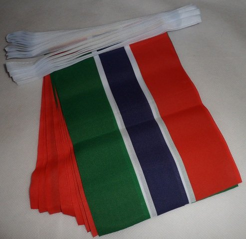 AZ FLAG Guirnalda 12 Metros 20 Banderas de Gambia 45x30cm - Bandera GAMBIANA 30 x 45 cm - BANDERINES