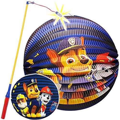 alles-meine.de GmbH Set: Laterne / Lampion + LED Laternenstab - Paw Patrol - Hunde - aus Papier - RUND - für Kinder Papierlaterne - Lampe - Laternen Lampions - Figuren - Laternen.. (Kinder-led-laterne)