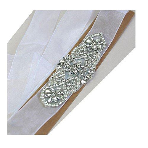 Brautgürtel, Strassgürtel, 270x2 cm, Chiffon durchsichtig, Vintage weiß, Vintage Gürtel zum...