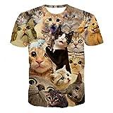 Rawdah T-Shirt à Col Rond Manches Courtes Impression Étoiles Chat Animaux Shirts Occasionnels Drôles D'Impression 3D Printemps Été à Supérieur Casual Top pour Hommes (L, F)