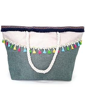 Damen Strandtasche groß XXL Shopper mit Reißverschluss, Verschiedene Modelle und Farben