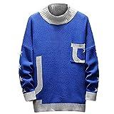 Yazidan Herren Herbst Winter Strickpullover Rollkragen Langarm Pullover U-Drucken Alphabetic Sweater Bluse Top Rundhals - Modern-Fit - Hochwertige Baumwollmischung - Feinstrick-Pullover