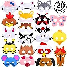 Rymall Mascaras Animales para Niños, 20 PCS Máscaras de Fiesta Máscaras de Cosplay Ideal para