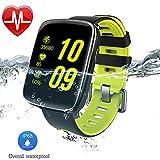 AsiaLONG IP68 Wasserdicht Smartwatch Uhr Bluetooth Smart Watch Sport Armbanduhr Fitness Tracker mit Herzfrequenz/Schrittzähler/Schlaftracker/Romte Capture/SMS Facebook Vibration/Stoppuhr Kompatibel mit Android IOS Smartphone (Grün)