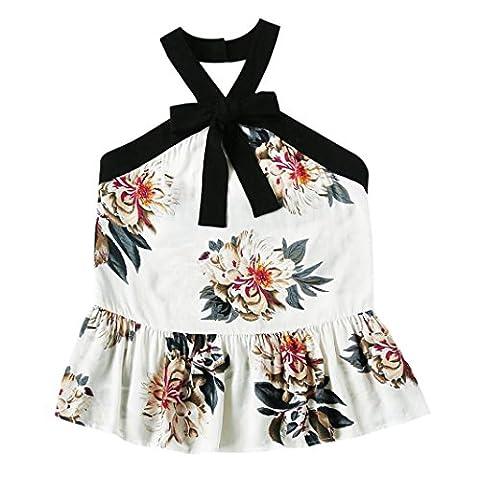 Bluester Women Summer Vintage Floral Vest, Ladies Boho Beach Cami Top Blouse (XXL, White)