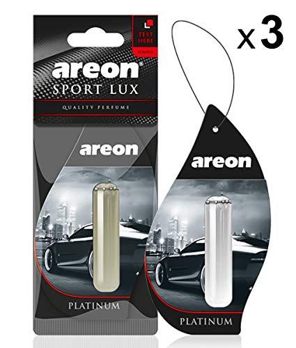 AREON Liquid Auto Parfüm Sport Lux Platin Autoduft Hängend Duftflakon Parfüm Flakon Lufterfrischer Aufhängen Anhänger Spiegel 5ml Schwarz 3D Set (Platinum Pack x 3) -