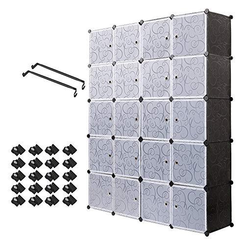 Armoire Penderie Portable Étagère de Rangement avec 20 Casiers Cubes de Stockage Modulaire en Plastique en métal Stable, Assemblage Facile pour Vêtements, Accessoires, Jouets,Noir et Blanc