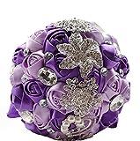 Brautstrauss Strass Standesamt Braut Hochzeit Neu Rosen Broschen Strass PerlenIvory Pink Lila Rot Türkis Blau (Lila/Lavendel)