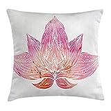 Proud abbigliamento Lotus cuscino, della rosa fiore di loto con ornamenti su sfondo bianco stile boho opera, decorative Square Accent Pillow case, 45,7x 45,7cm, rosa chiaro e bianco