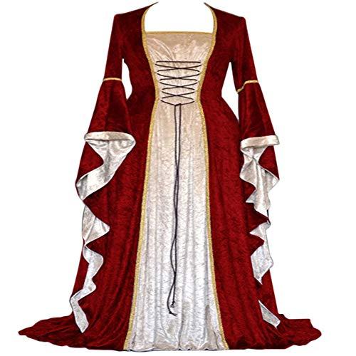 üm für Frauen Mittelalterliches Kleid Lace up Irish Über Lange Kleider Cosplay Retro Kleid (S, rot) ()