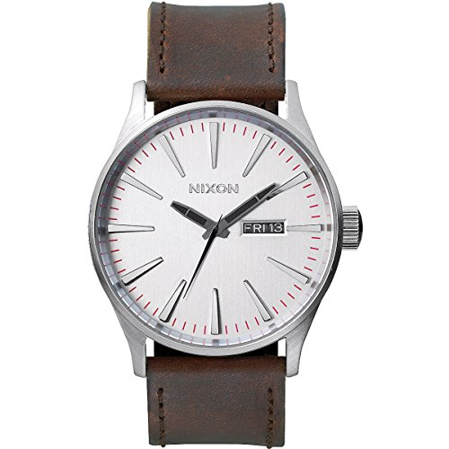nixon-mens-quartz-watch-sentry-leather-a1051113-00-with-leather-strap