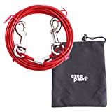 Dog Tie Out Cable with Storage Bag 20ft (6m) (Red)