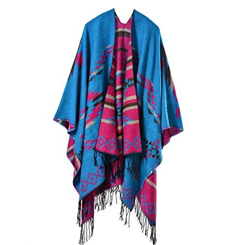Honghu Cape Poncho Femme Tricot,Poncho Capes Châle Ouverture Extra Large écharpe Châle Poncho Automne Hiver Bleu