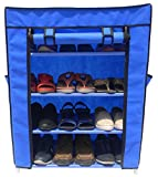 #10: Homecute Shoe Rack 4 Layer with Cover, Door, Closed, Collapsible, Portable, Movable, Cloth Cabinet, Organiser and Almirah Types, Steel Metal Pipe, Plastic and Non-Woven Fabric. Colour – Blue
