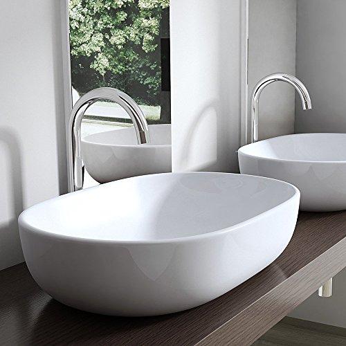 BTH: 60x42x14cm, Design Aufsatzwaschbecken Brüssel322, aus Keramik, ovale Form, 60 cm breit, Waschschale, Waschtisch