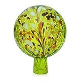 Lauschaer glazen tuinkogel rozenkbal van glas met granulaat citroengeel d 12 cm mondgeblazen handgevormd