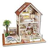 Atyhao Fai da Te in Legno Kit casa delle Bambole in Miniatura, casa delle Bambole con mobili e Luce a LED, miglior Ornamento Decorativo per Regalo Bambino Kid