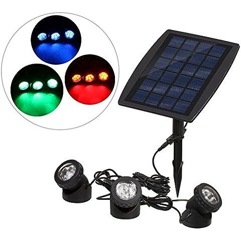 Docooler 18 LEDs Energía solar Super Brillante 3 Lámparas Jardín Piscina Estanque Patio Paisaje