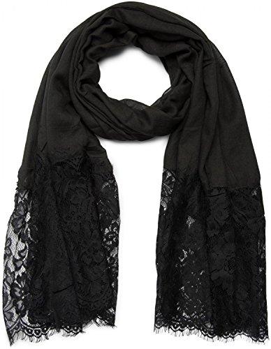 styleBREAKER unifarbener Schal mit Spitzen Besatz, Blumen Muster und Fransen, Stola, Tuch, Damen 01016112, Farbe:Schwarz