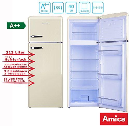 Amica Retro Kühl-/Gefrierkombination Creme KGC 15635 B A++ 213 Liter mit **** Gefrierfach Coffee Creme