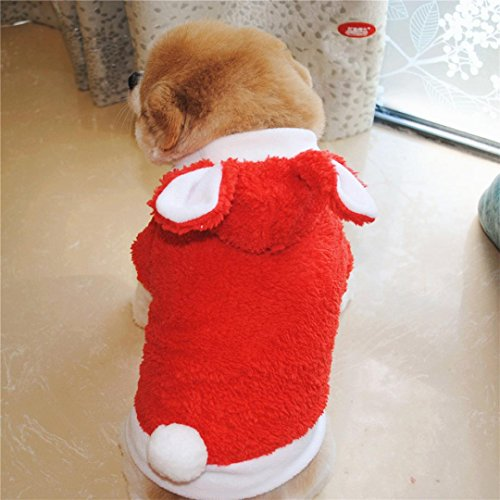 Pet Kostüm Bunny - Niedlichen Welpen Kaninchen Kleidung Upxiang Hund und Kätzchen Pet Verwandeln Bunny Kostüm Pet Herbst / Winter Dicke Doppelte Samt Mantel Welpen Mode Kleidung Tiermantel (M-16.53