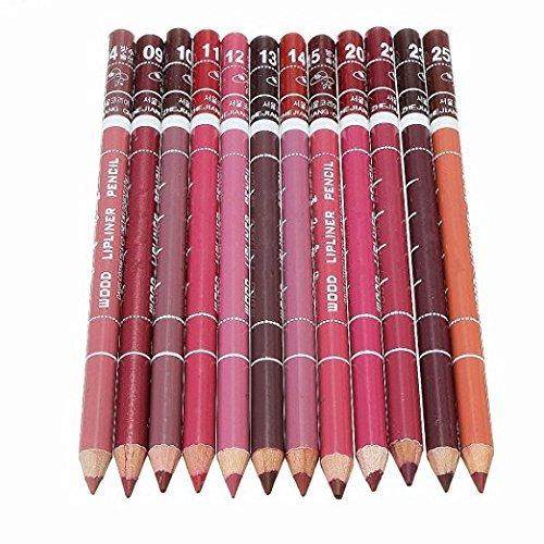 Generische Lot de crayons à lèvres professionnels, 12 couleurs - Crayon contour des lèvres waterproof avec bouchon, 15 cm