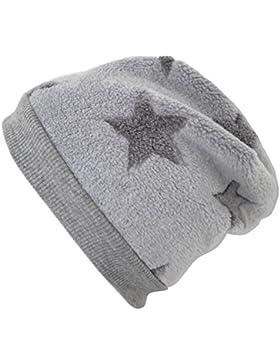 WOLLHUHN Warme Beanie-Mütze in hellgrau mit mittelgrauen Sternen, Wellnessfleece, 20151202