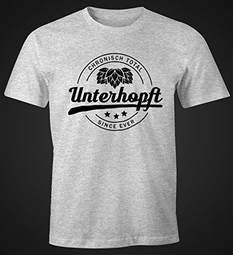 Chronisch Unterhopft Total Herren T-Shirt Since Ever Fun-Shirt Moonworks® Unterhopft grau-meliert