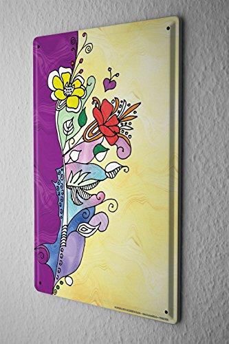 Cartello Targa In Metallo Fantasia Motivo fiori colorati cuori viola Decorative Piastra Insegna Metallica 20X30
