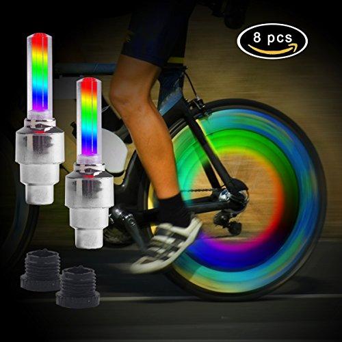 LED Ventil, TechKen Fahrrad Sicherheits helles Buntes Fahrrad Fahrrad einen Kreislauf Durchmachenauto Rad Blitz LED Ventil Schaft Kappen Licht Lampe Wasserdichtes(8 Stück) (Bunte Fahrrad-lichter)
