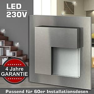 4x Wandeinbauleuchte BELLUNO Edelstahl 230V LED ca. 1 Watt GARANTIE 4 Jahre...