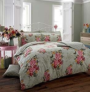 ensemble literie housse couette r tro fleuri t vert lit double cuisine maison. Black Bedroom Furniture Sets. Home Design Ideas