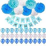 40 Stück Geburtstag Dekoration,Kindergeburtstag Deko,9 Papierblumenball +1 Happy Birthday Banner Fahnen+ 30 Ballons Dekoration Set für Mädchen und Jungen Jeden Alters,Geburtstag,Hochzeit,Karneval,Baby-Partys etc (Blau weiß)
